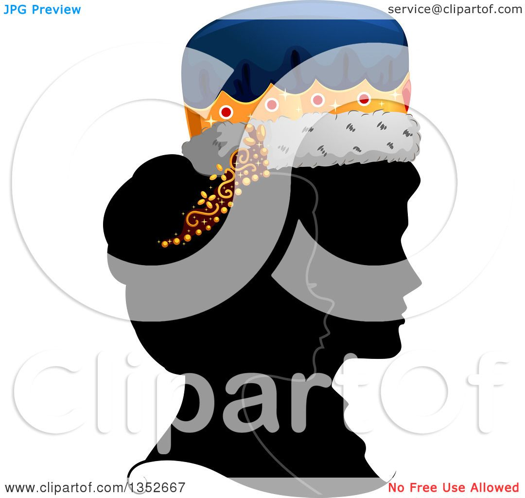 Clipart of a Grayscale Profile Silhouette of a King and Queen with.