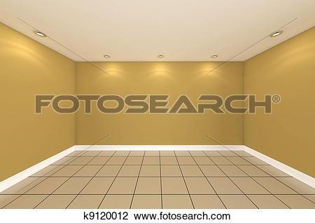 Clip Art of empty room color wall k9120012.