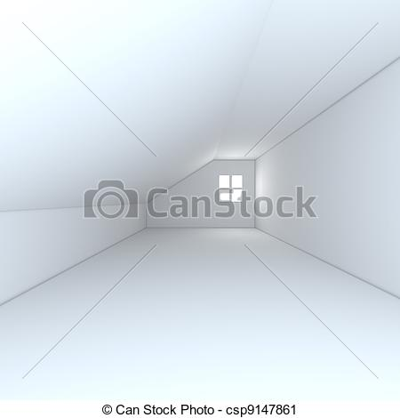 Clipart of Home interior rendering with empty room color wall.