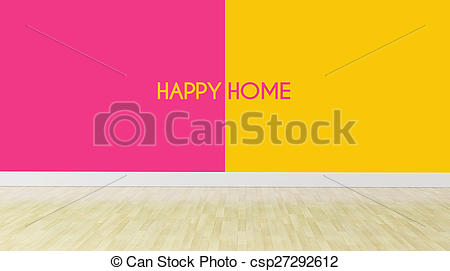 Clipart of happy home text on dualtone color wall.