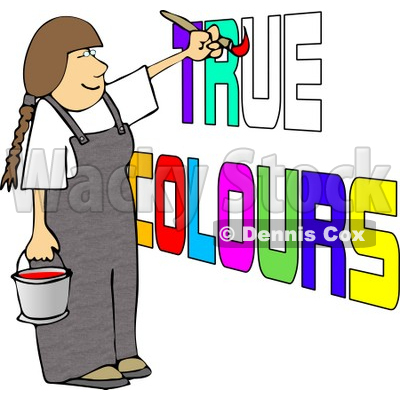Female Painter Painting True Colours on a Wall Clipart Picture.