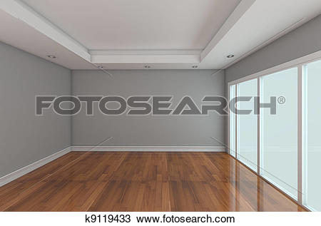 Drawing of Empty Room decorated color wall k9119433.