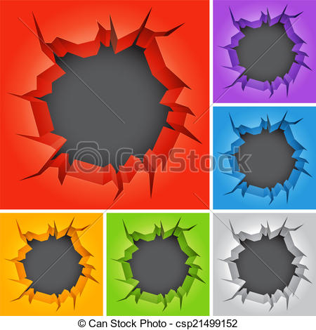 Clipart Vector of Crack in wall..