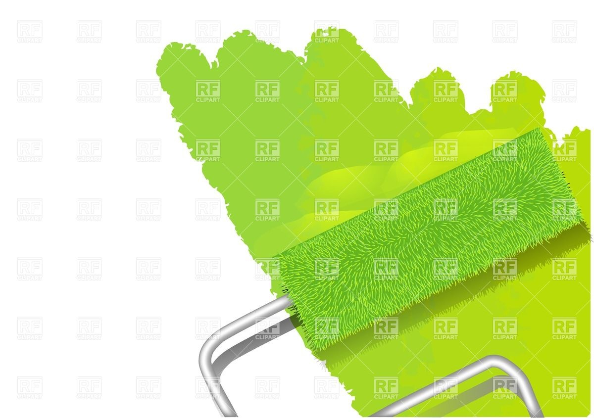 Paint roller painting wall in lime green color Vector Image #27169.