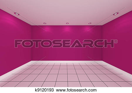 Drawing of empty room color wall k9120193.