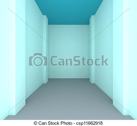 Clipart of Empty room color blue wall for renovate.