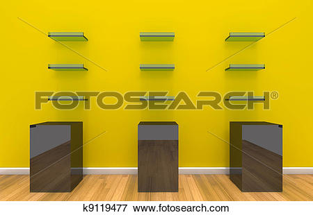 Stock Illustration of Shelves on yellow color wall k9119477.