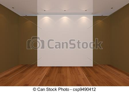 Clip Art of empty room color wall and wood floor.