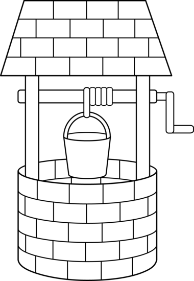 Wishing Well Line Art.