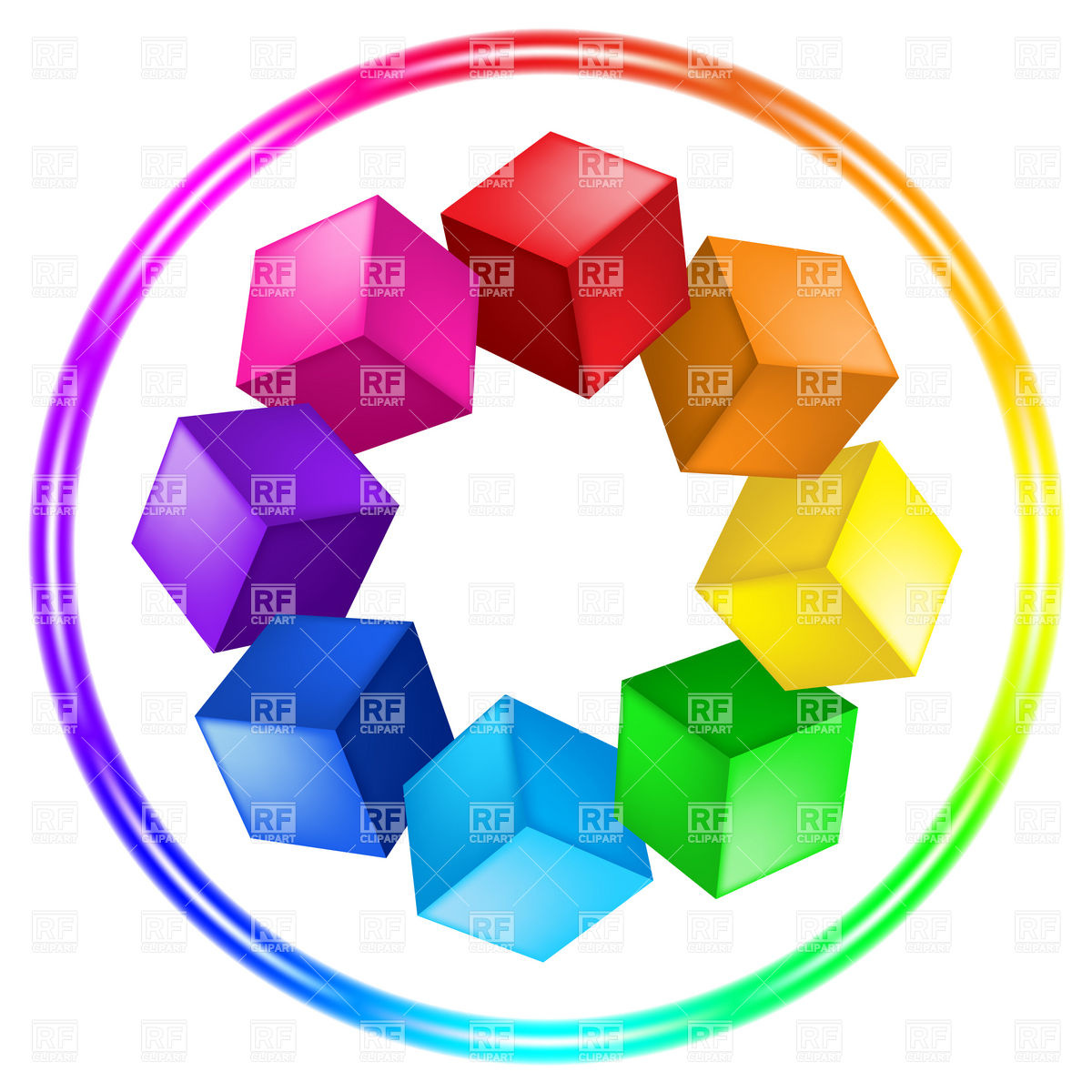 Cubes color wheel palette in ring Vector Image #8334.