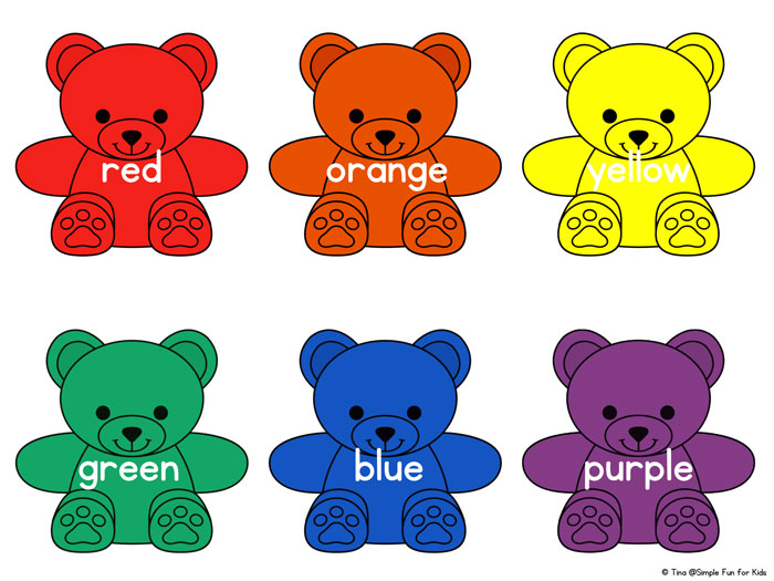 Rainbow Bear Colors Printable.