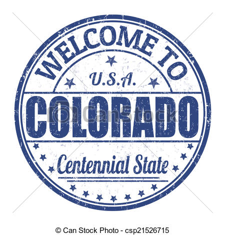 Vector Clip Art of Welcome to Colorado stamp.