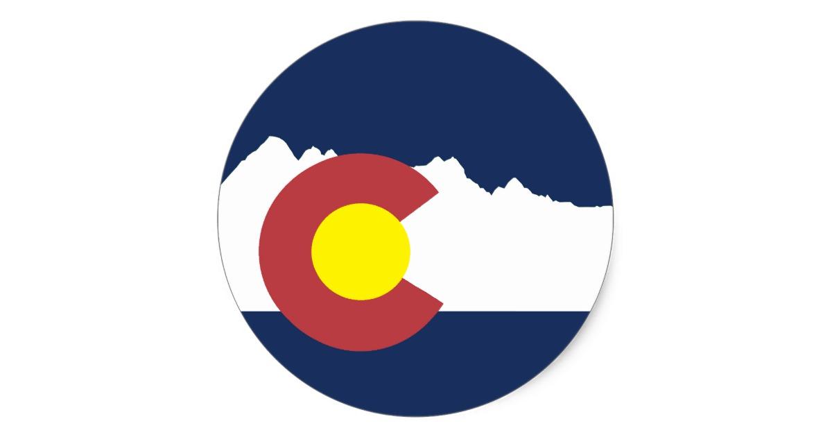 Mountain Colorado Flag Round Sticker.