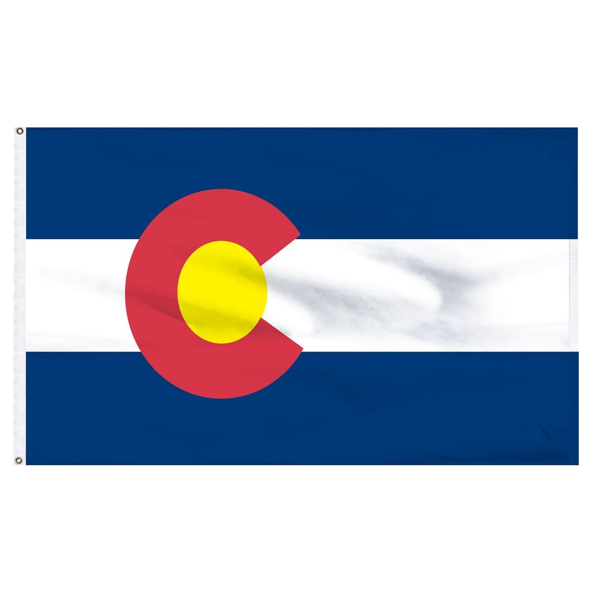 Colorado 3x5ft Nylon Flag with Pole Hem Only.