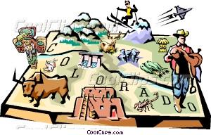 Colorado vignette map Vector Clip art.