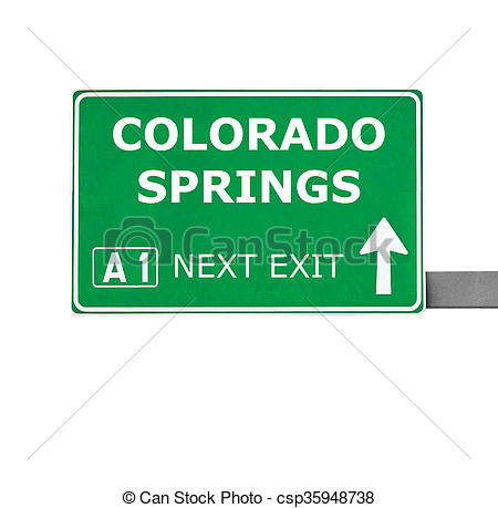 Drawings of COLORADO SPRINGS road sign isolated on white.