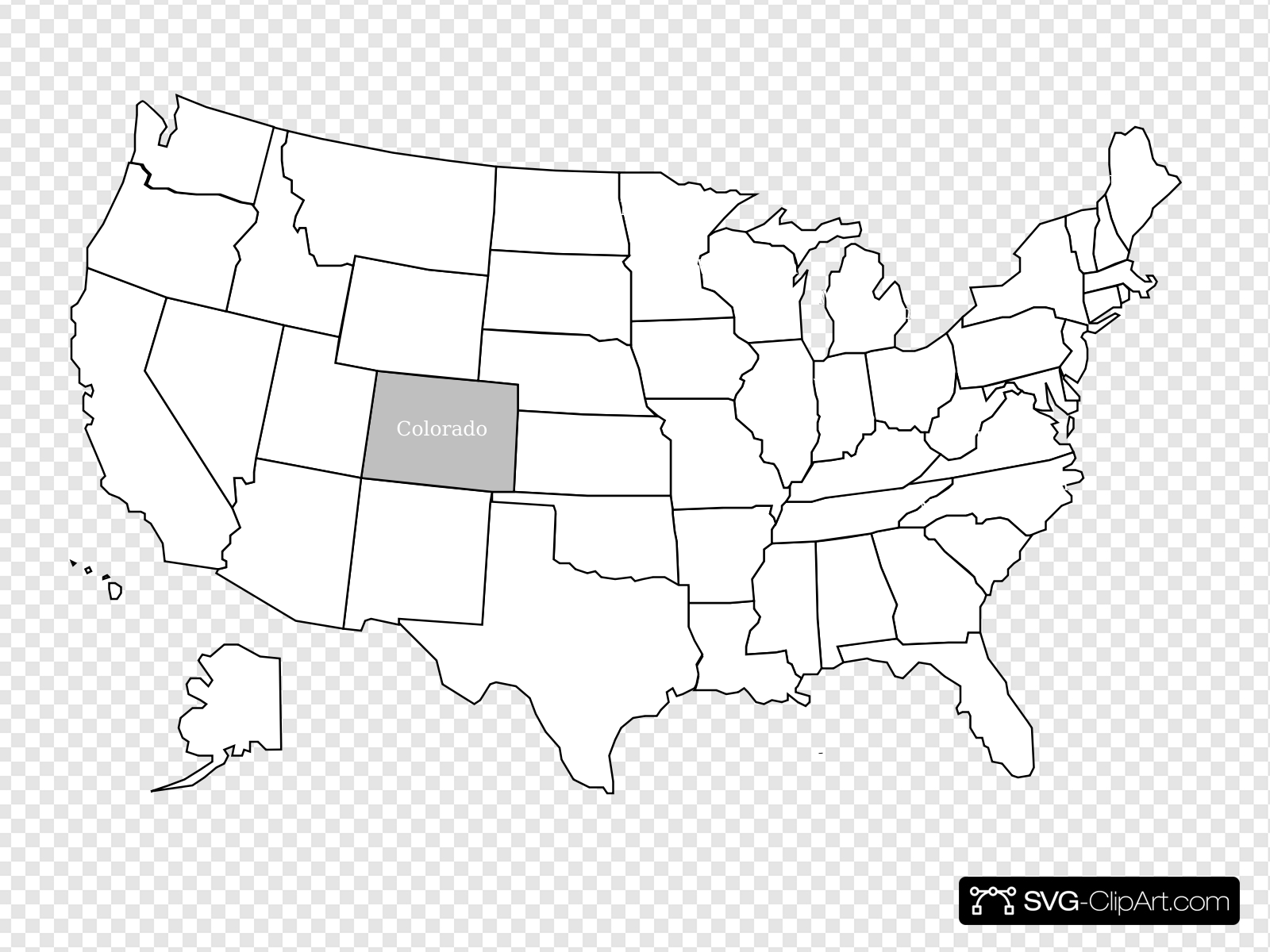 United States Map With Colorado Highlighted Clip art, Icon.
