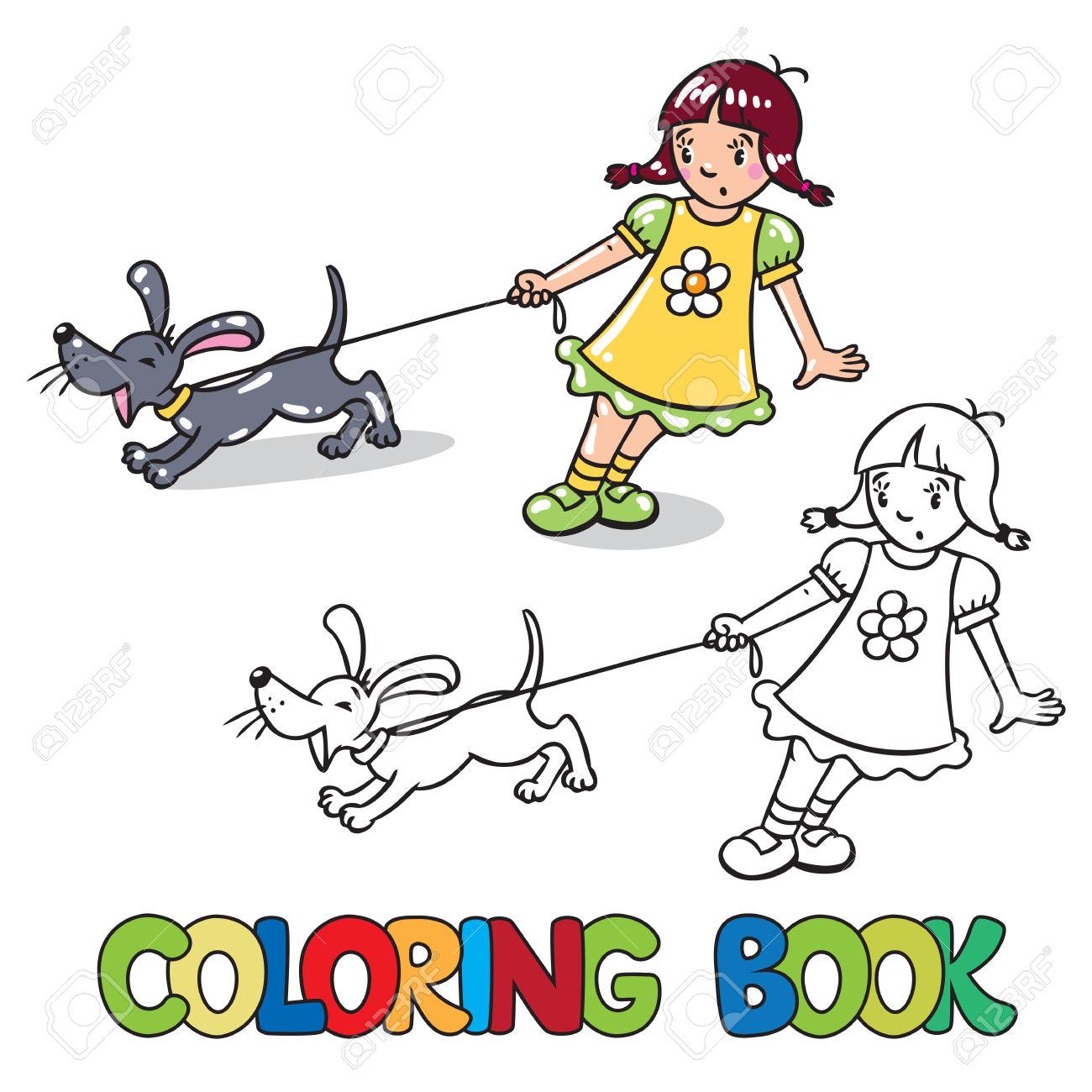 Livre De Coloriage Ou De Colorants Photo De Jeune Fille Tenant La.