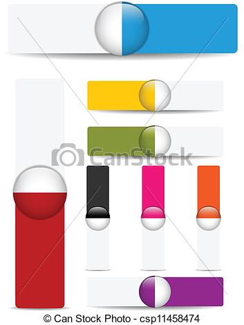 Vectors Illustration of Glossy web banners with colored bars.
