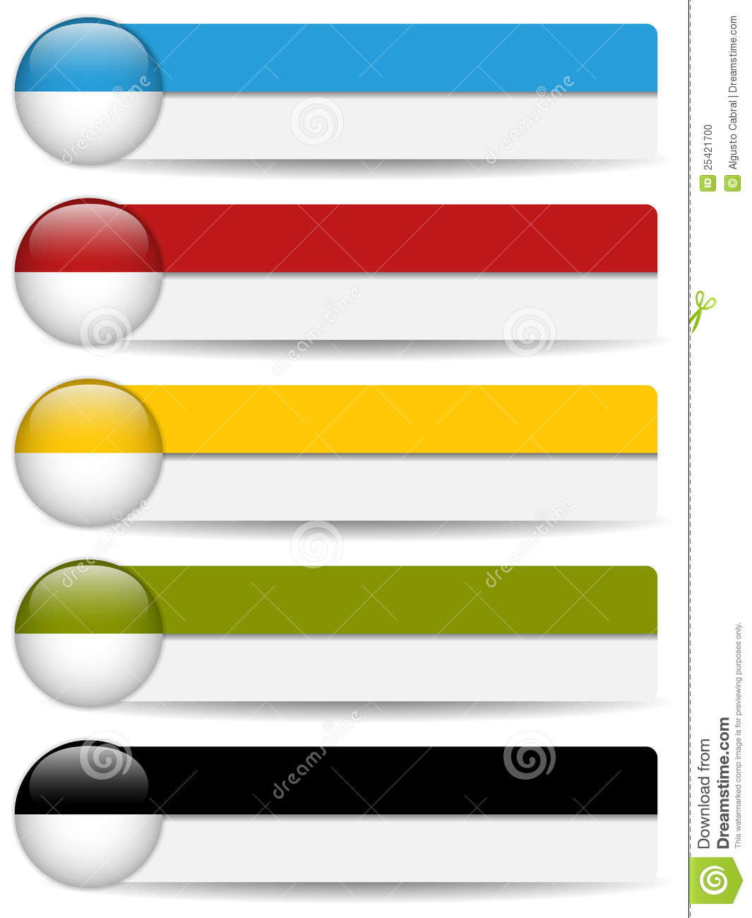 Glossy Web Buttons With Colored Bars. Stock Photo.