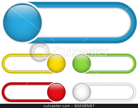 Glossy web buttons with colored bars. stock vector.