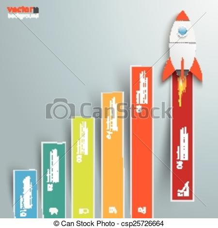 Clip Art Vector of Chart Growth Colored Bars Rocket.