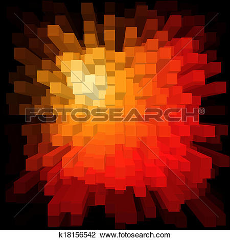 Clip Art of 3d Bright Abstract Data Stream Colored Bars k18156542.