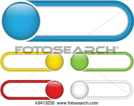 Clipart of Glossy web buttons with colored bars. k9413235.