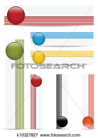 Clip Art of Glossy web buttons with colored bars. k10327827.
