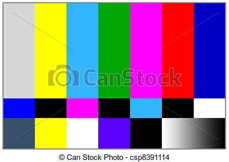 Stock Photo of Television colored bars signal. Test signal for TV.