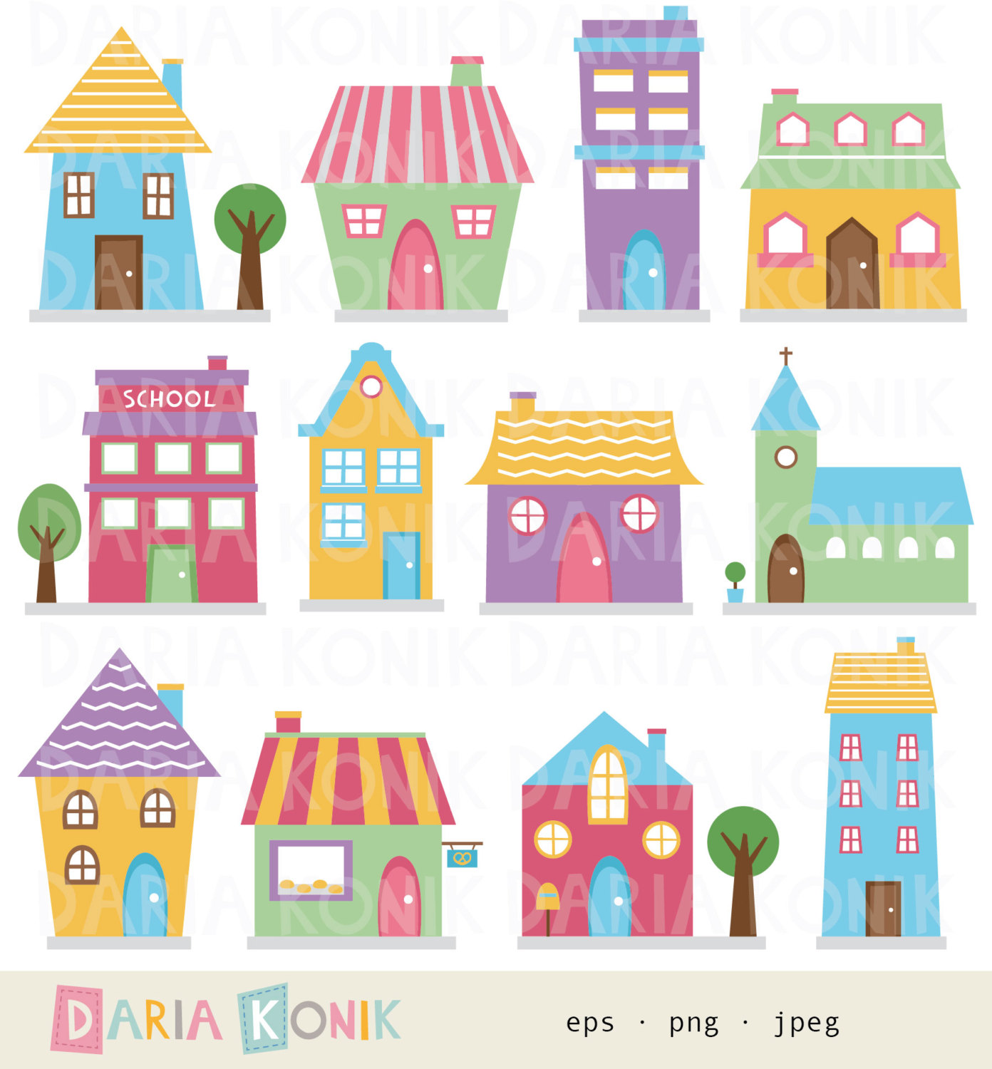 Colorful house clipart.