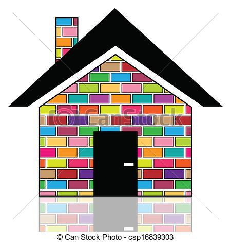 Vector Clipart of A colorful house.
