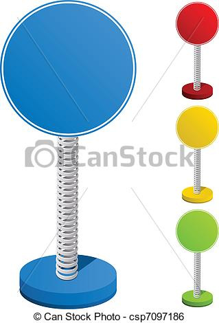 Clip Art Vector of Set of Colorful Text Box on Metal Spring.