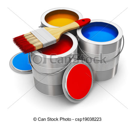 Clip Art of Cans with color paint and paintbrush.