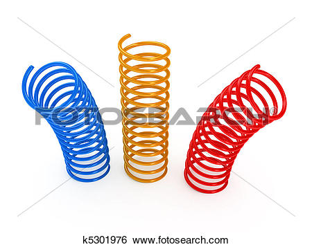 Stock Images of Color metal spring over white background k5301976.
