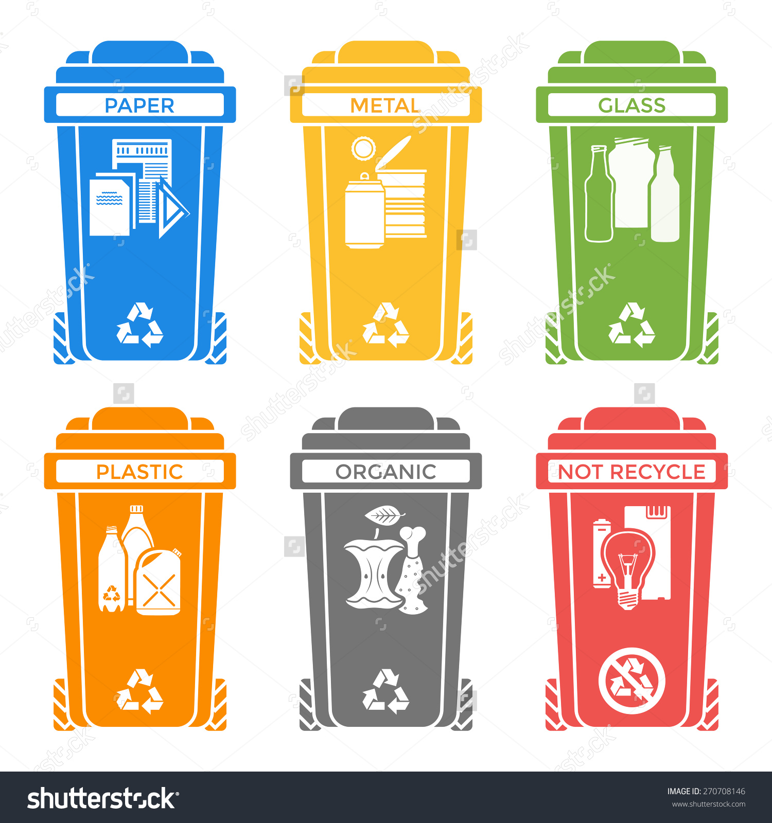 Vector Various Colors Separated Recycle Waste Stock Vector.
