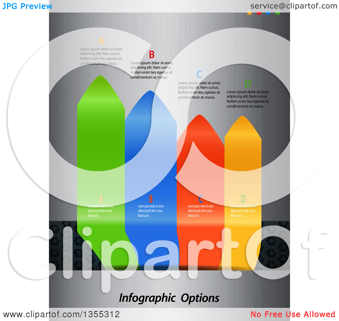 Clipart of 3d Vertical Colorful Infographic Arrow Tabs with Sample.
