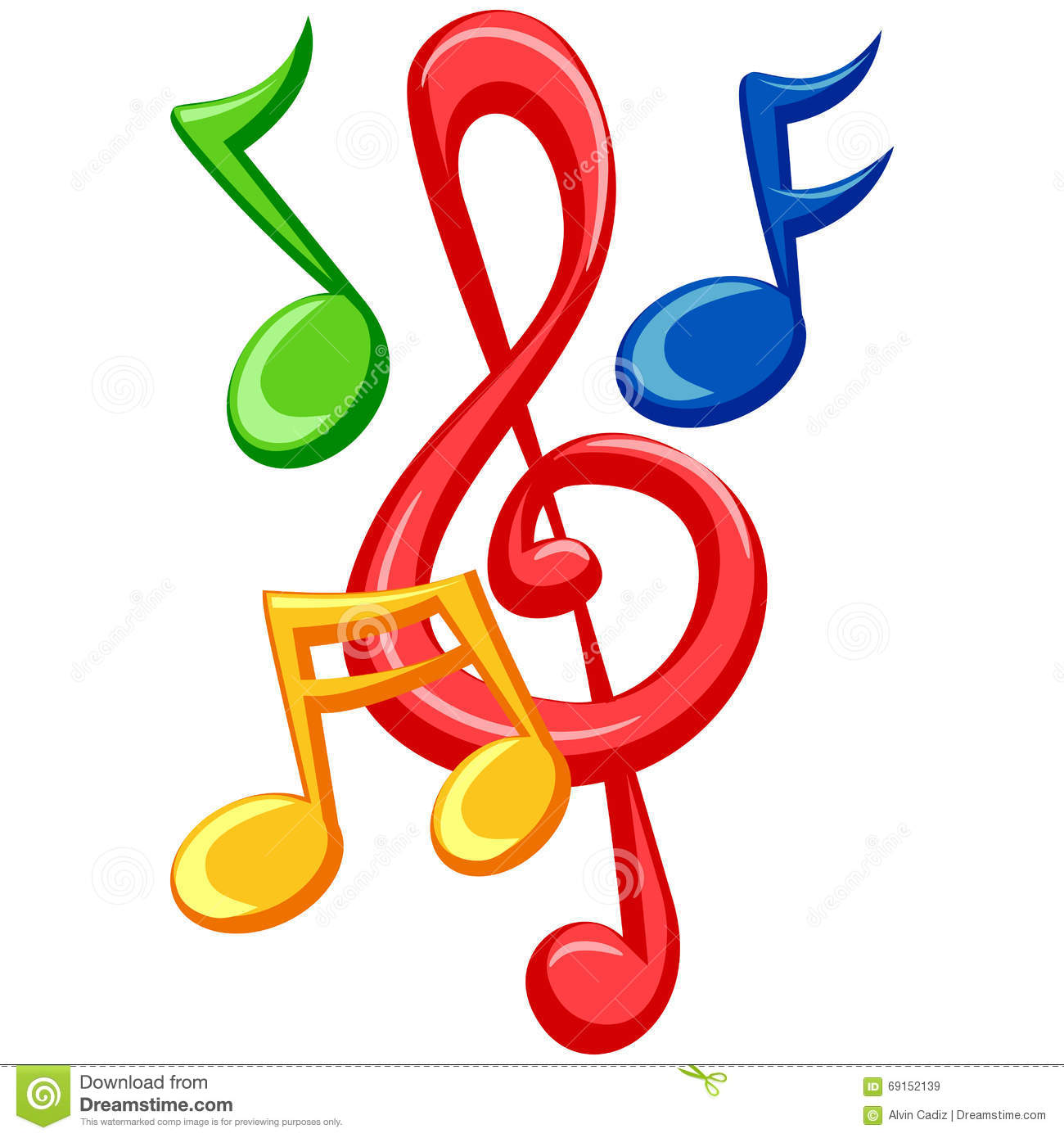 Colorful Music Notes stock vector. Illustration of stylized.