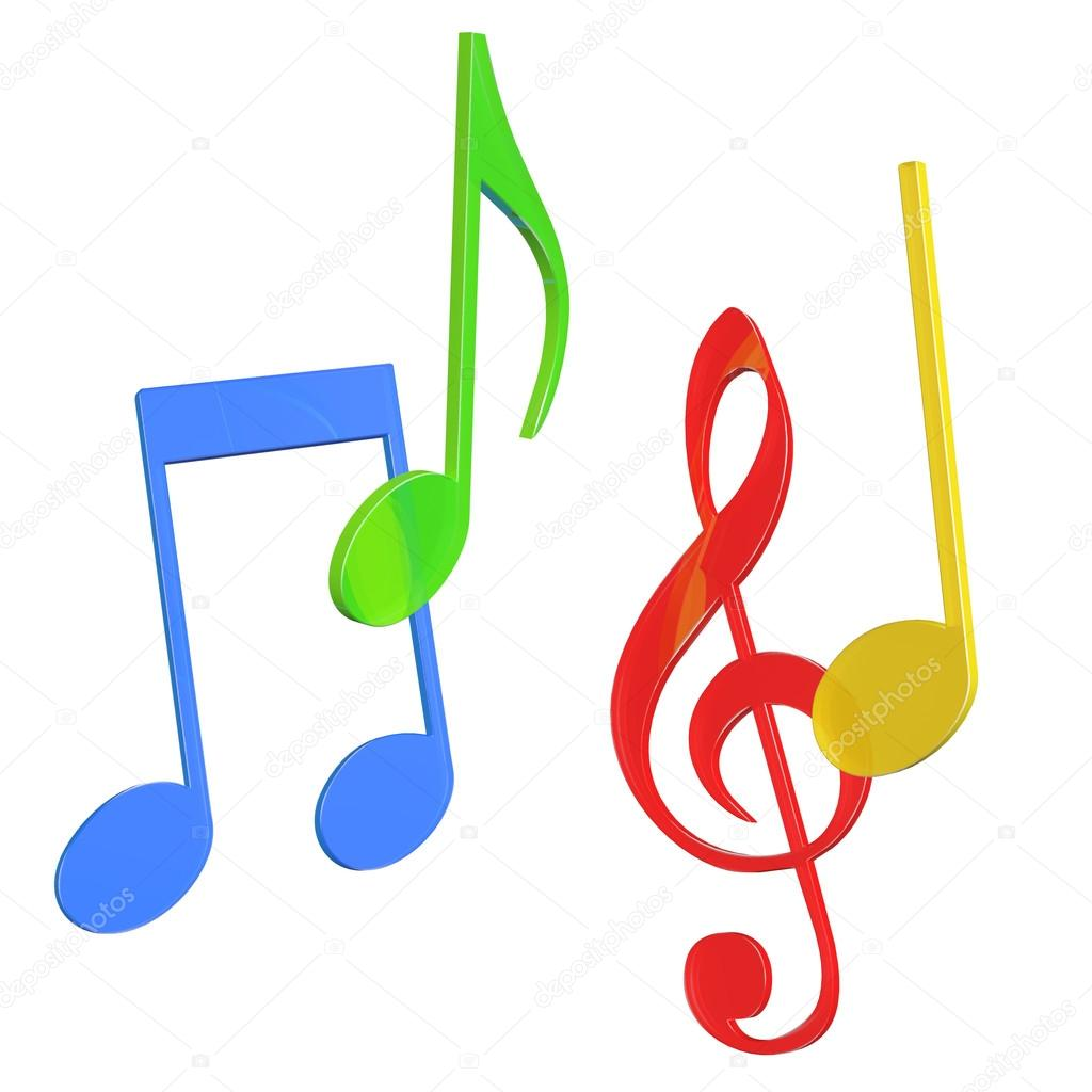 Colored music notes clip art.