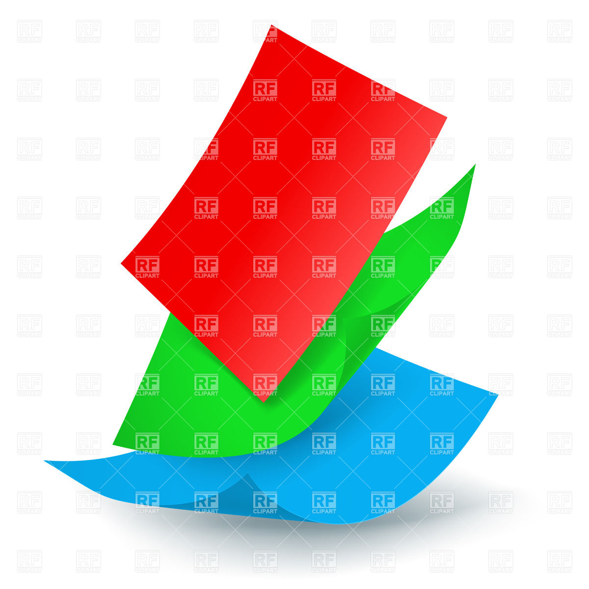 Three colored paper sheets falling down Vector Image #27939.