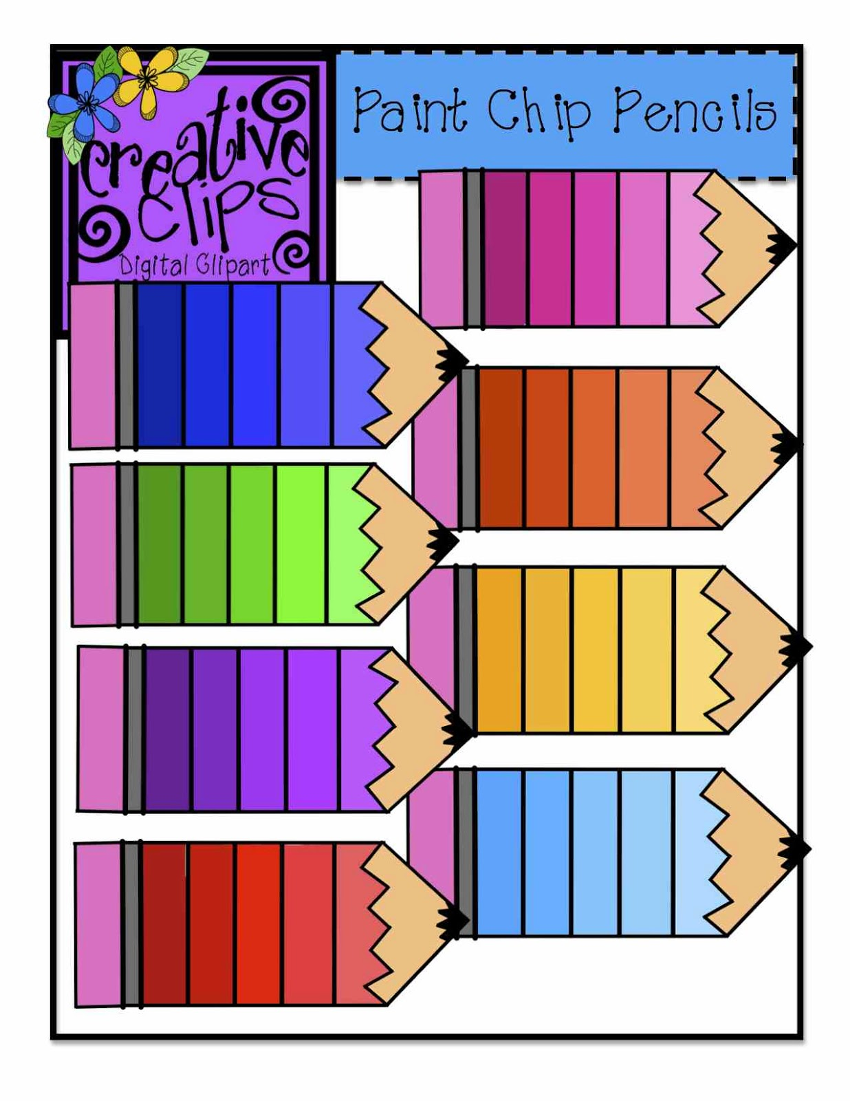 Colored Pencils Clipart Black And White.