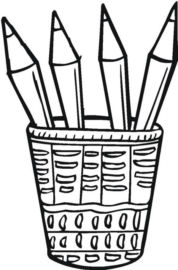 Color pencil clipart black and white.