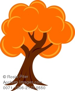 Clipart Image of A Fall Tree With Brightly Colored Orange Leaves.