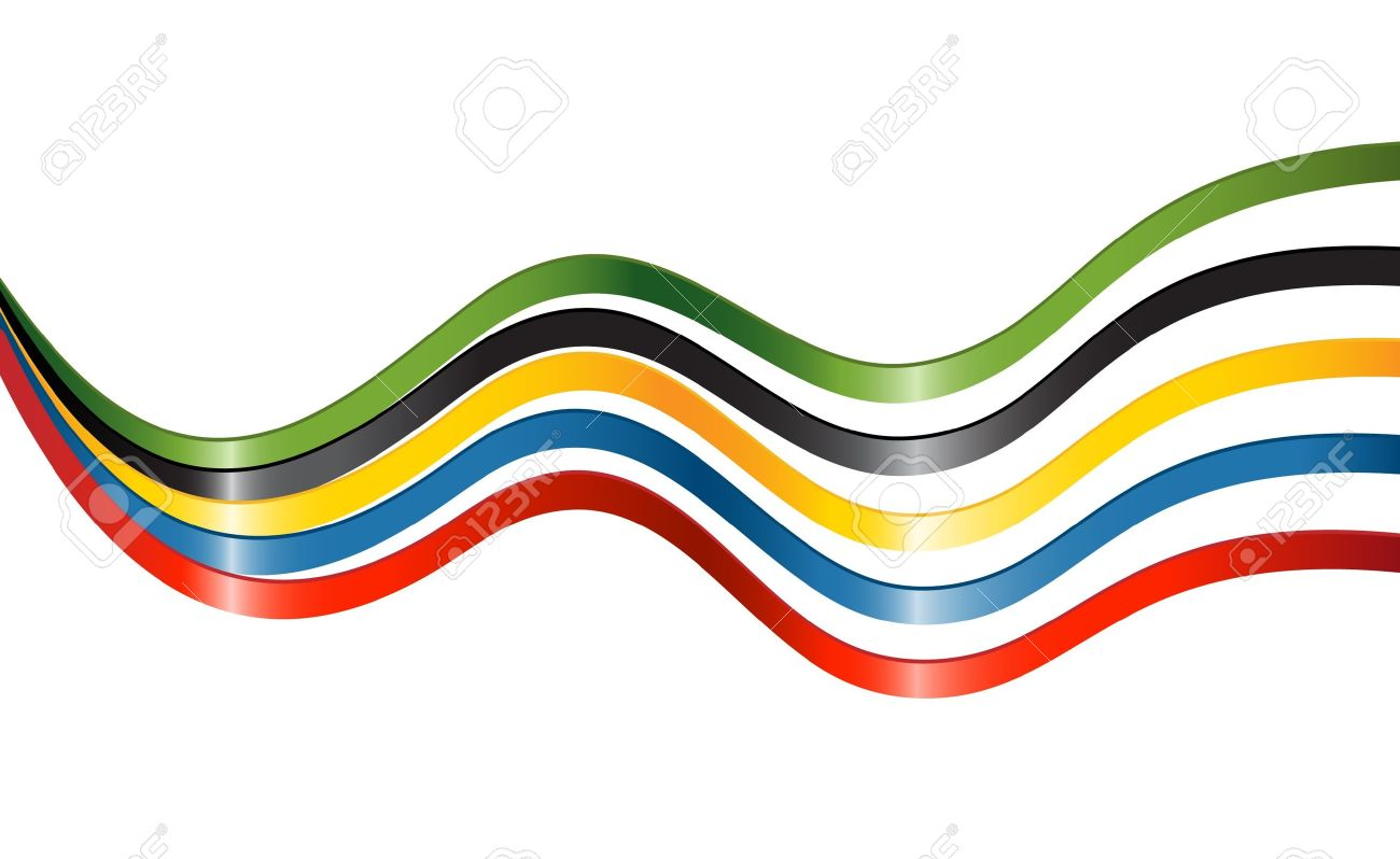 Ribbons In Colors Of The Five Continents Royalty Free Cliparts.