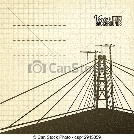 Clipart Vector of Suspension bridge in sepia..