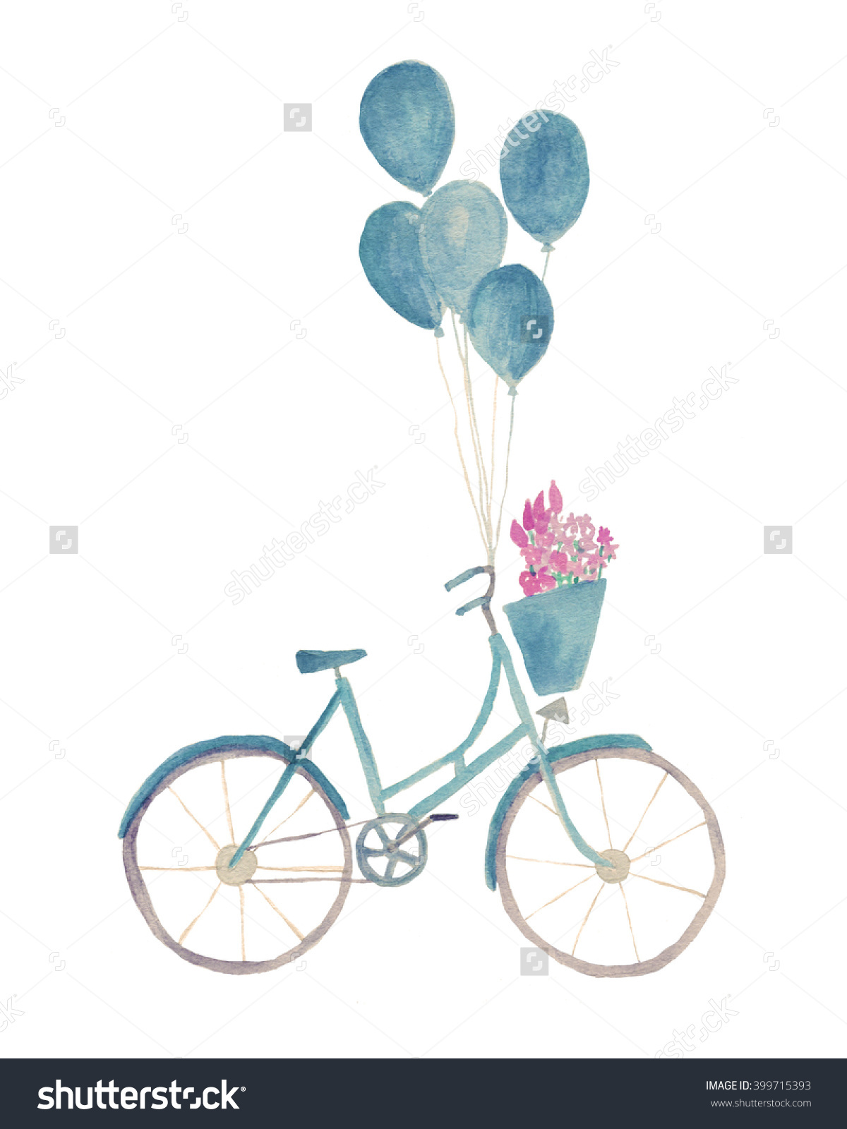 Watercolor Bicycle Illustration Basket Flowers Balloons Stock.