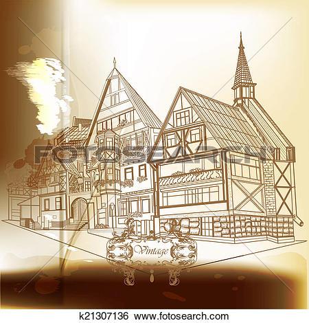 Stock Illustration of Imitation of vintage postcard in sepia color.
