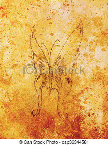 Stock Illustration of illustration of a butterfly, pencil drawing.