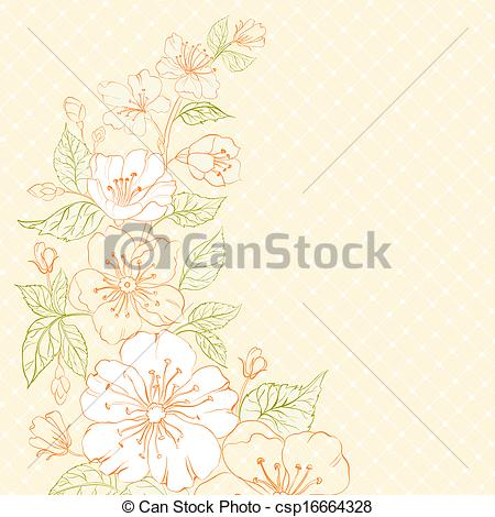 Clip Art of Colored sakura flowers over sepia. illustration.
