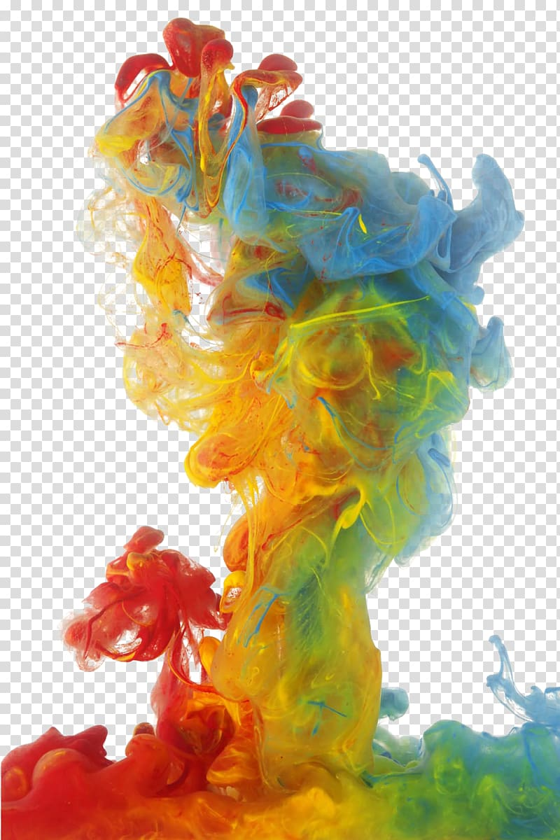 Colored smoke, color smoke , red, yellow, green, and blue.